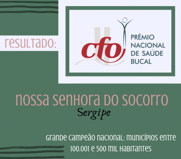 Município de N. Sra. do Socorro vence Prêmio Nacional CFO de Saúde Bucal 2019, na categoria entre 100.001 e 500.000 hab