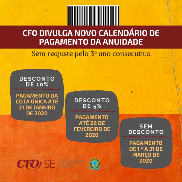 ANUIDADE 2020 | Sem reajuste pelo 3º ano consecutivo, CFO divulga novo calendário de desconto