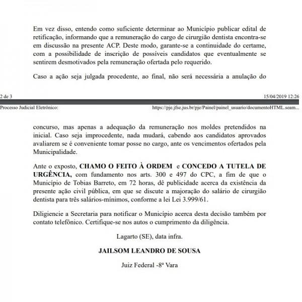 Justiça determina ajuste de salário previsto para dentistas no concurso de Tobias Barreto