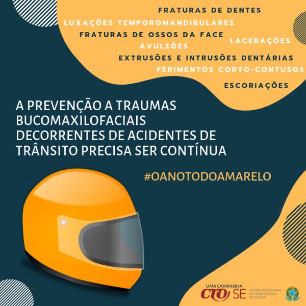 CRO-SE incentiva continuidade de ações de prevenção a traumas bucomaxilofaciais no trânsito, após Maio Amarelo