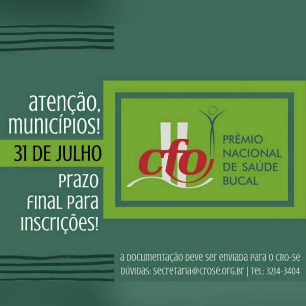 CRO-SE recebe inscrições para o 'Prêmio Nacional CFO de Saúde Bucal 2019', até 31 de julho