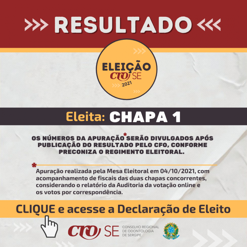 Resultado Eleição CRO-SE 2021