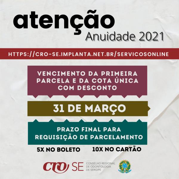 CRO-SE alerta para fim do prazo de pagamento da Anuidade 2021 em cota única com desconto em 31 de março