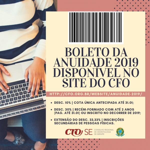Boleto da anuidade 2019 já está disponível para emissão no site do CFO