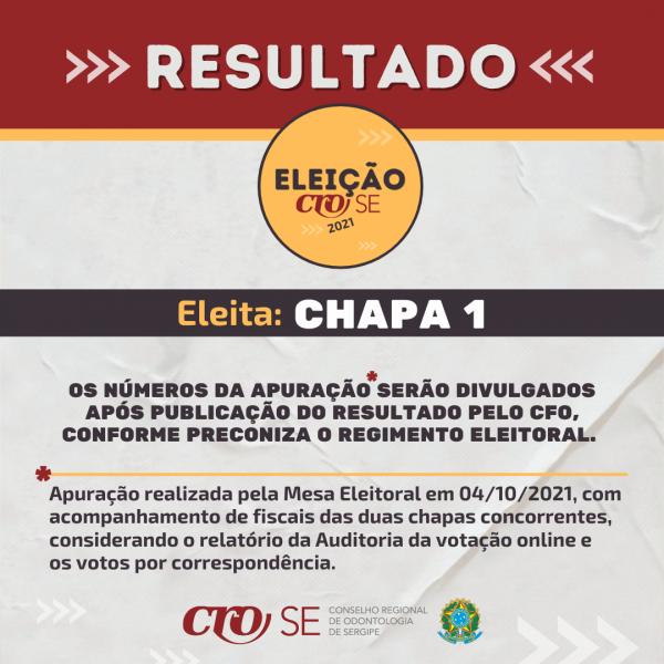 Mesa Eleitoral divulga resultado da Eleição para Conselheiros Efetivos e Suplentes do CRO-SE