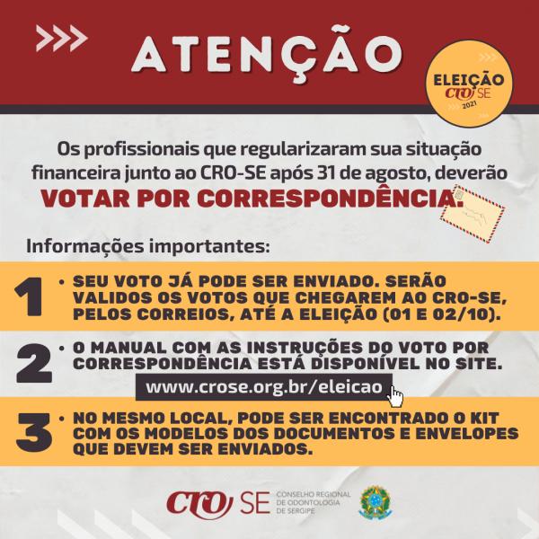 Comissão Eleitoral do CRO-SE reforça informações sobre o voto por correspondência