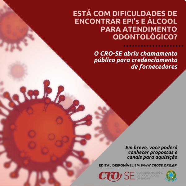 CRO-SE abre chamamento público para credenciamento de fornecedores de EPIs e álcool