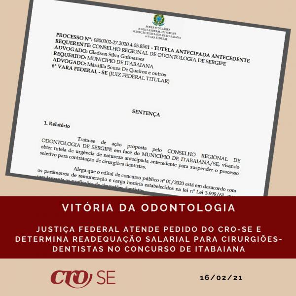 Justiça Federal decide pela readequação salarial de cargos da Odontologia no Concurso de Itabaiana