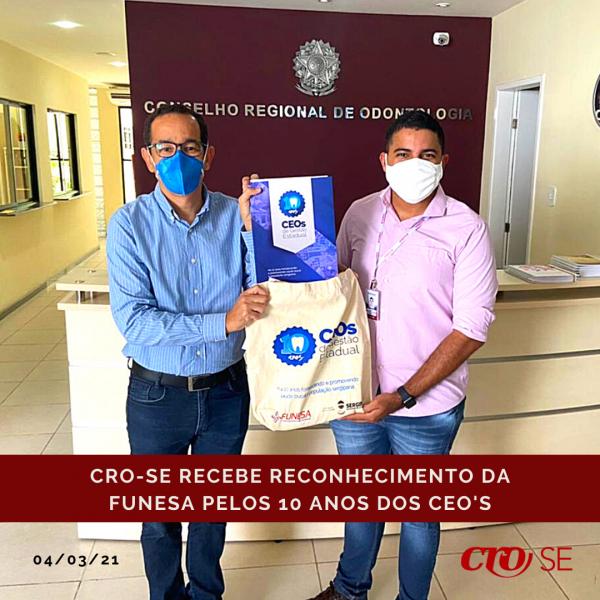 Funesa entrega Carta de Agradecimento ao CRO-SE pelos 10 anos dos Centros de Especialidades Odontológicas Estaduais