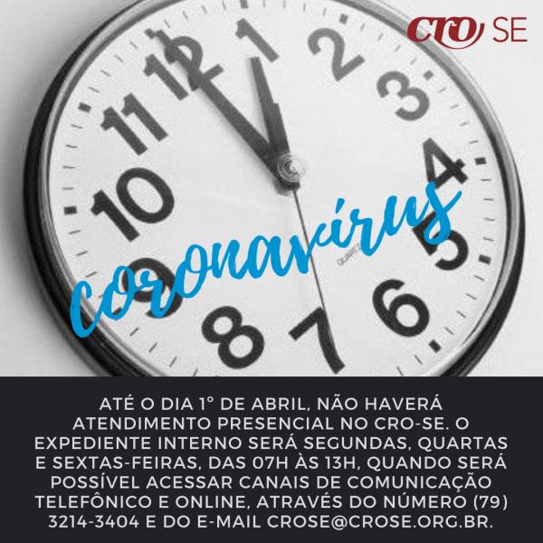 CORONAVÍRUS | CRO-SE suspende atendimento presencial até 1º de abril e edita outras providências