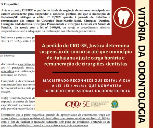 Justiça atende pedido do CRO-SE e suspende concurso de Itabaiana até que o município ajuste carga horária e remuneração de cirurgiões-dentistas
