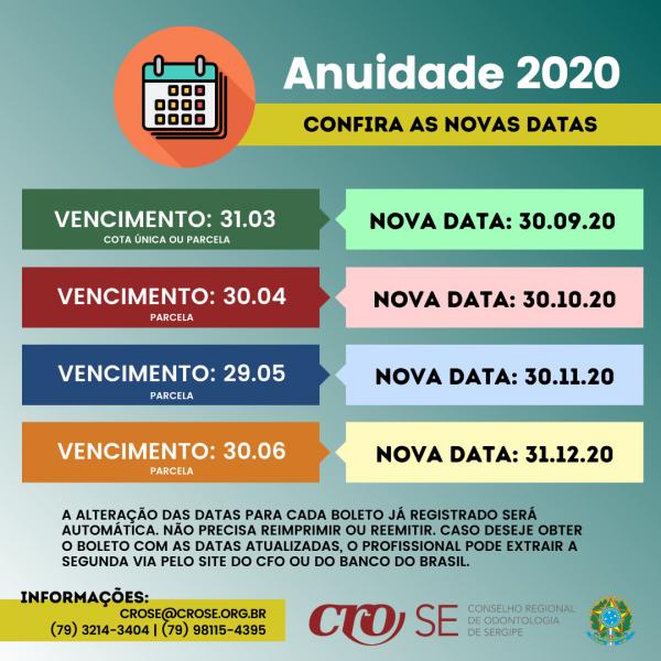 Confira as novas datas de vencimento da Anuidade 2020