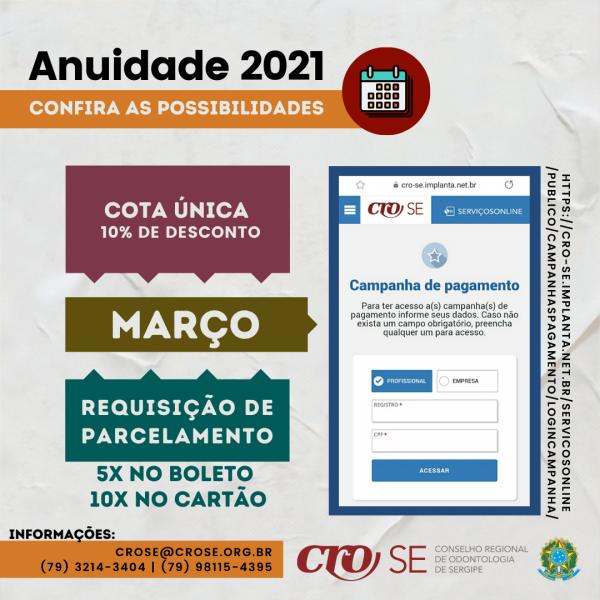Anuidade 2021 tem 10% de desconto até 31 de março; parcelamento pode ser solicitado a partir do dia 1º