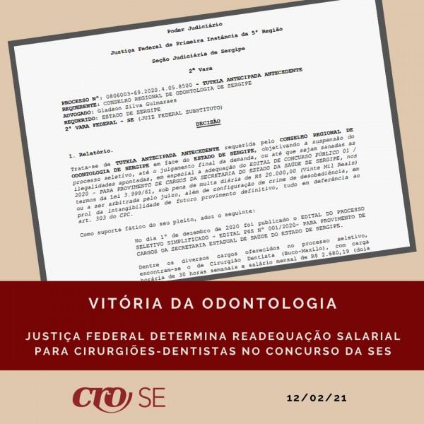 Justiça Federal atende pedido do CRO-SE e determina readequação salarial para CDs no Concurso da SES