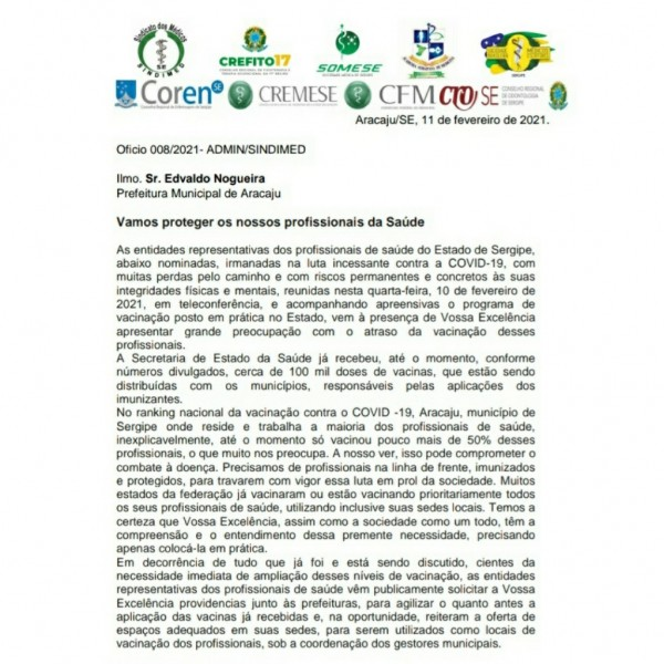 VACINAÇÃO | CRO-SE, demais conselhos de classe da Saúde e entidades médicas oficiam Governo de Sergipe e Prefeitura de Aracaju