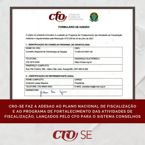 CRO-SE faz adesão ao Plano Nacional e ao Programa de Fortalecimento da Fiscalização lançados pelo CFO